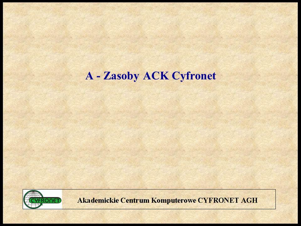 Zasoby i obszary aktywności A1 - Komputery Dużej Mocy Obliczeniowej KDMO A2 - Miejska Sieć Komputerowa MSK A3 - usługi sieciowe A4 - oprogramowanie A5 - archiwizacja i bezpieczeństwo danych A6 - projekty badawcze A7 - konferencje