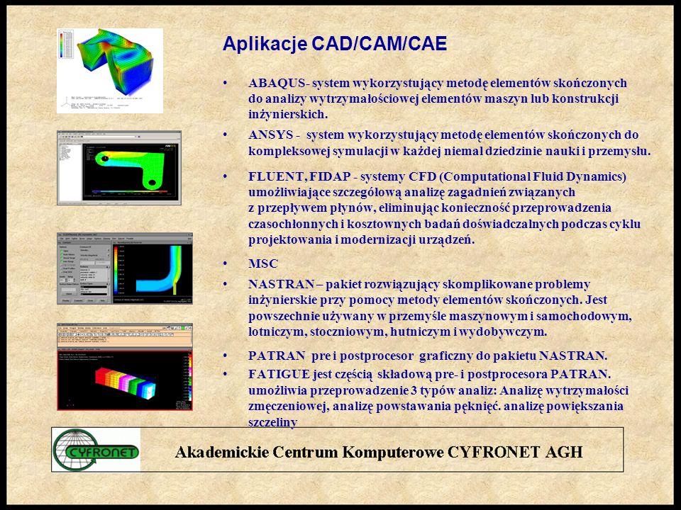Aplikacje CAD/CAM/CAE ABAQUS- system wykorzystujący metodę elementów skończonych do analizy wytrzymałościowej elementów maszyn lub konstrukcji inżynierskich.
