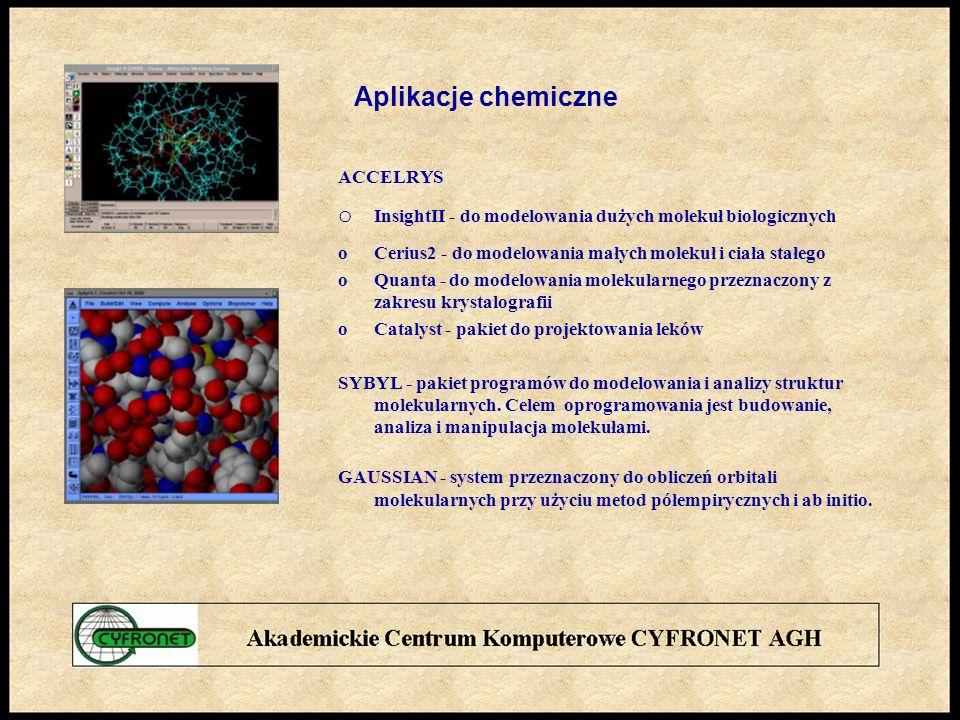 Aplikacje chemiczne ACCELRYS o InsightII - do modelowania dużych molekuł biologicznych oCerius2 - do modelowania małych molekuł i ciała stałego oQuanta - do modelowania molekularnego przeznaczony z zakresu krystalografii oCatalyst - pakiet do projektowania leków SYBYL - pakiet programów do modelowania i analizy struktur molekularnych.