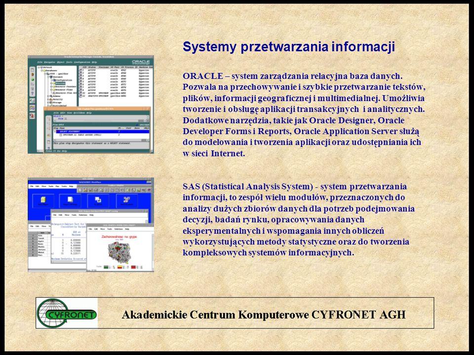 Systemy przetwarzania informacji ORACLE – system zarządzania relacyjna baza danych.