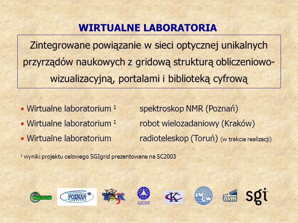 WIRTUALNE LABORATORIA Zintegrowane powiązanie w sieci optycznej unikalnych przyrządów naukowych z gridową strukturą obliczeniowo- wizualizacyjną, portalami i biblioteką cyfrową 1 wyniki projektu celowego SGIgrid prezentowane na SC2003 Wirtualne laboratorium 1 spektroskop NMR (Poznań) Wirtualne laboratorium 1 robot wielozadaniowy (Kraków) Wirtualne laboratorium radioteleskop (Toruń) (w trakcie realizacji)