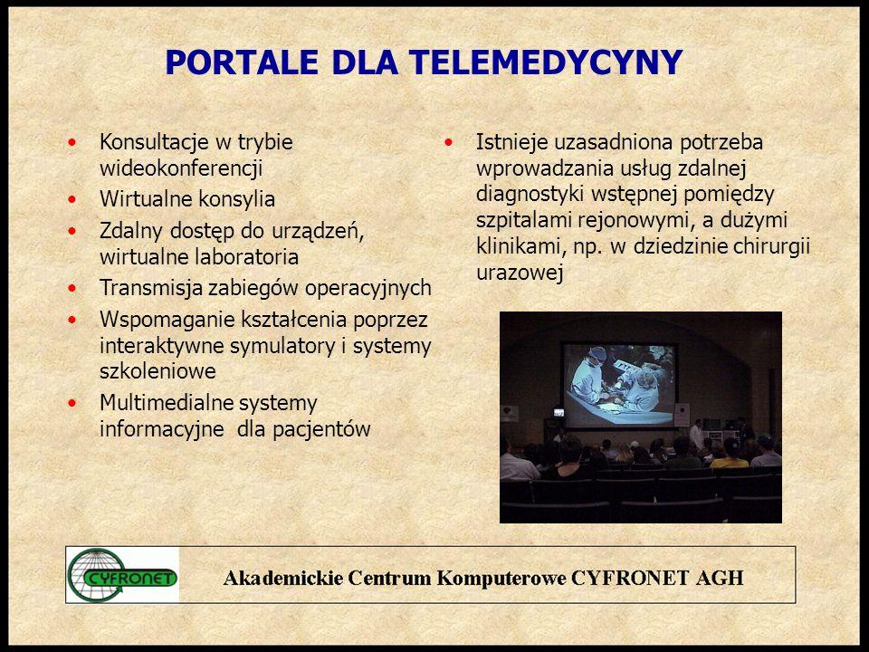 PORTALE DLA TELEMEDYCYNY Konsultacje w trybie wideokonferencji Wirtualne konsylia Zdalny dostęp do urządzeń, wirtualne laboratoria Transmisja zabiegów operacyjnych Wspomaganie kształcenia poprzez interaktywne symulatory i systemy szkoleniowe Multimedialne systemy informacyjne dla pacjentów Istnieje uzasadniona potrzeba wprowadzania usług zdalnej diagnostyki wstępnej pomiędzy szpitalami rejonowymi, a dużymi klinikami, np.