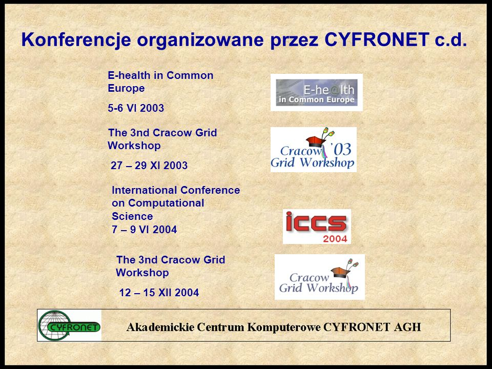 Konferencje organizowane przez CYFRONET c.d.