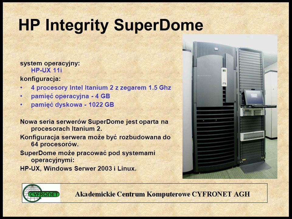 HP Integrity SuperDome system operacyjny: HP-UX 11i konfiguracja: 4 procesory Intel Itanium 2 z zegarem 1.5 Ghz pamięć operacyjna - 4 GB pamięć dyskowa - 1022 GB Nowa seria serwerów SuperDome jest oparta na procesorach Itanium 2.