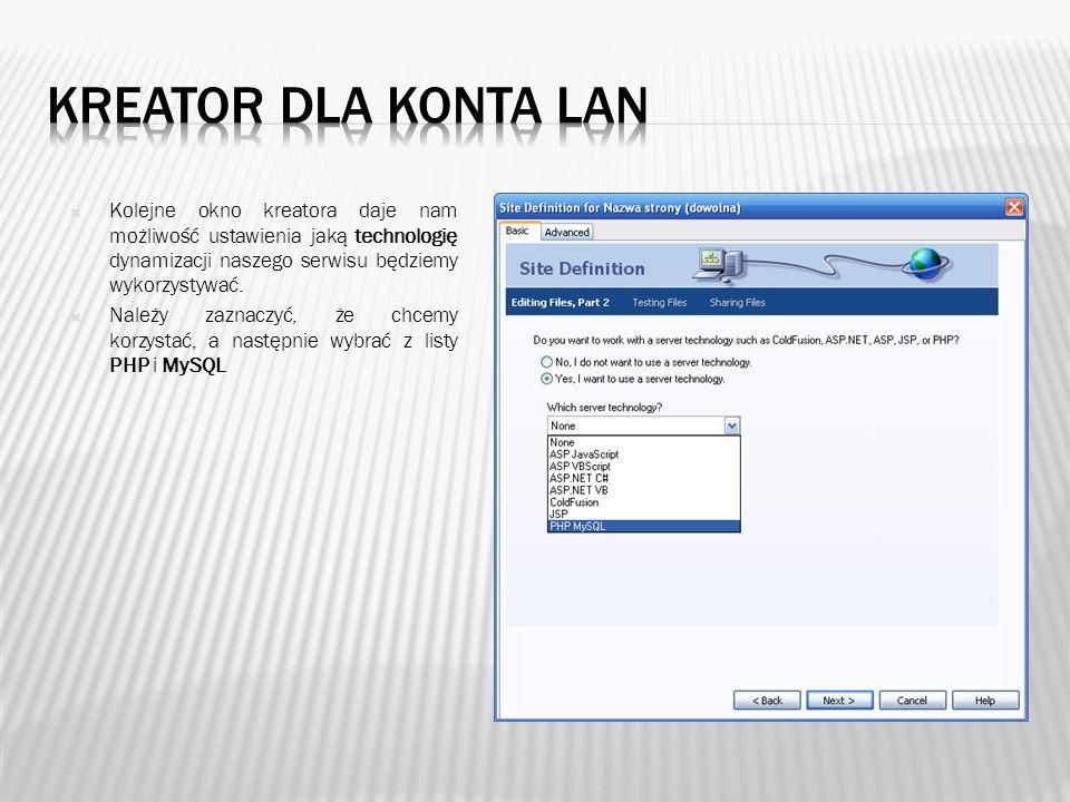 Kolejne okno kreatora służy do określenia lokalizacji naszych plików witryny.
