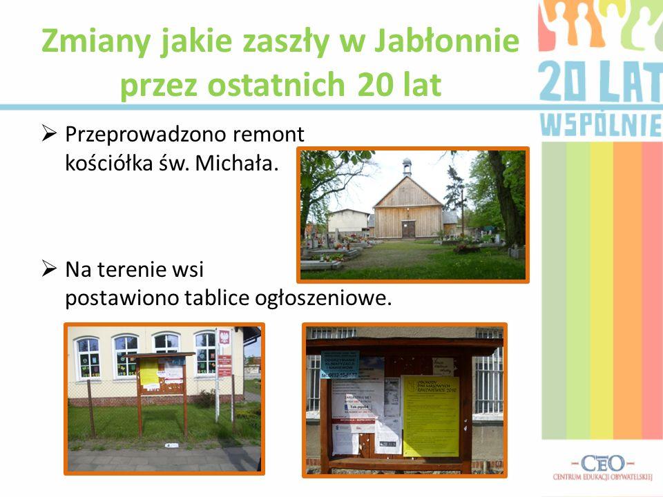 Przeprowadzono remont kościółka św. Michała. Na terenie wsi postawiono tablice ogłoszeniowe. Zmiany jakie zaszły w Jabłonnie przez ostatnich 20 lat