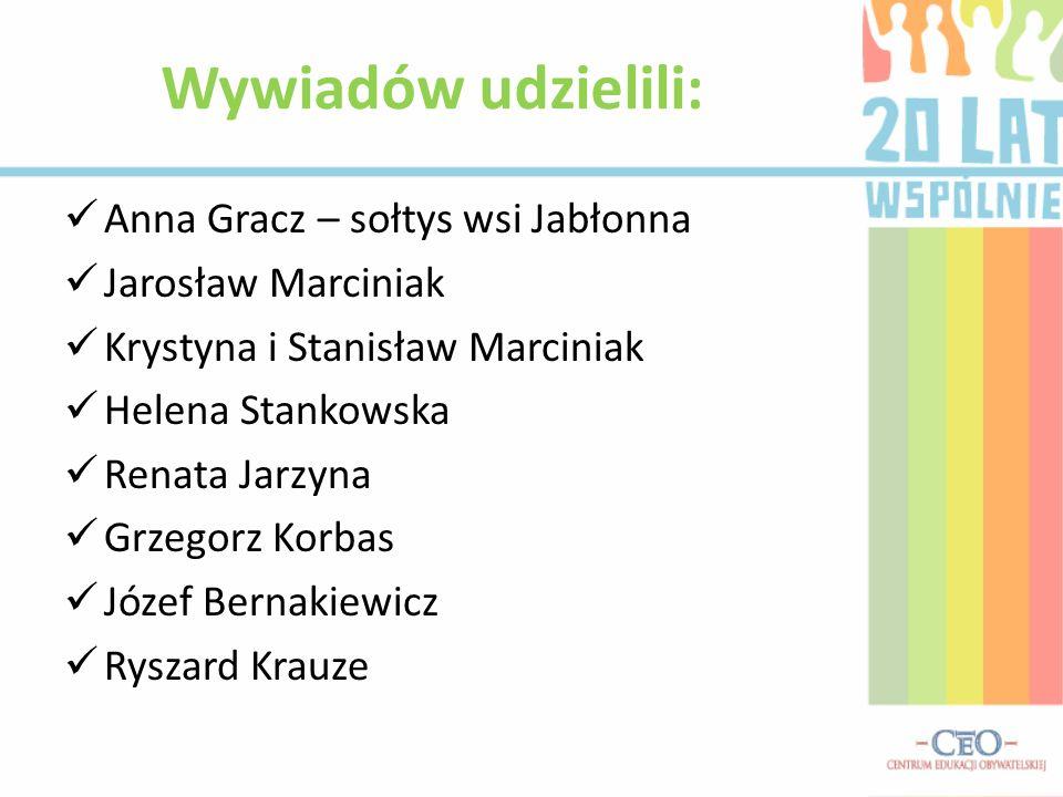 Anna Gracz – sołtys wsi Jabłonna Jarosław Marciniak Krystyna i Stanisław Marciniak Helena Stankowska Renata Jarzyna Grzegorz Korbas Józef Bernakiewicz