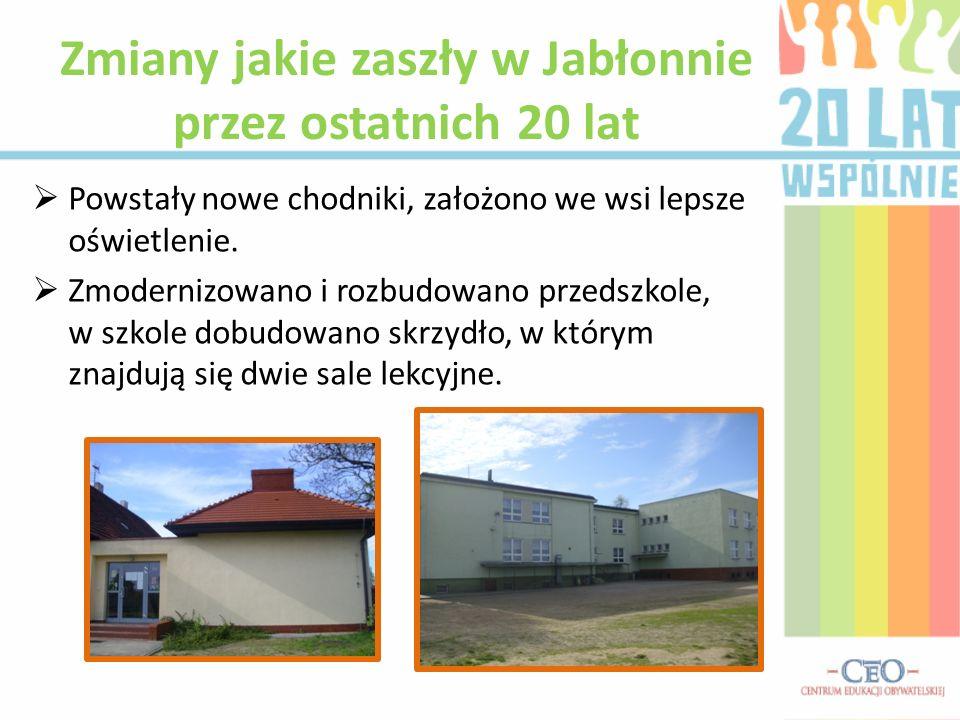 Powstały nowe chodniki, założono we wsi lepsze oświetlenie. Zmodernizowano i rozbudowano przedszkole, w szkole dobudowano skrzydło, w którym znajdują