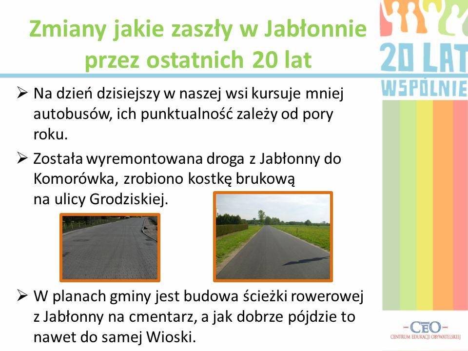 Na dzień dzisiejszy w naszej wsi kursuje mniej autobusów, ich punktualność zależy od pory roku. Została wyremontowana droga z Jabłonny do Komorówka, z
