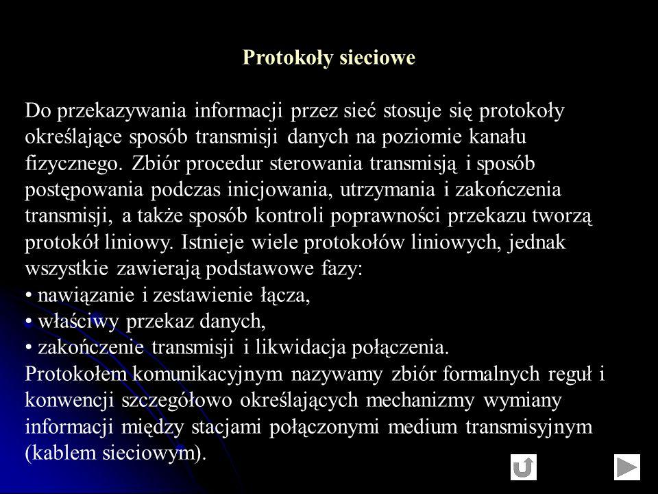 Protokoły sieciowe Do przekazywania informacji przez sieć stosuje się protokoły określające sposób transmisji danych na poziomie kanału fizycznego. Zb
