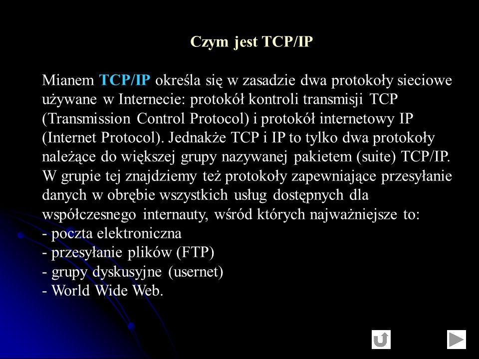 Czym jest TCP/IP Mianem TCP/IP określa się w zasadzie dwa protokoły sieciowe używane w Internecie: protokół kontroli transmisji TCP (Transmission Cont