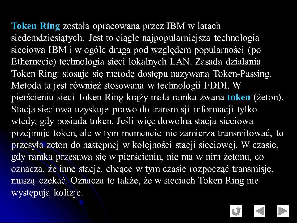 Token Ring została opracowana przez IBM w latach siedemdziesiątych. Jest to ciągle najpopularniejsza technologia sieciowa IBM i w ogóle druga pod wzgl