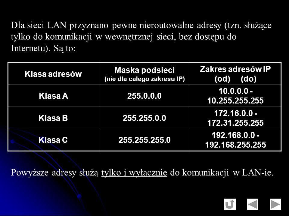 Dla sieci LAN przyznano pewne nieroutowalne adresy (tzn. służące tylko do komunikacji w wewnętrznej sieci, bez dostępu do Internetu). Są to: Klasa adr