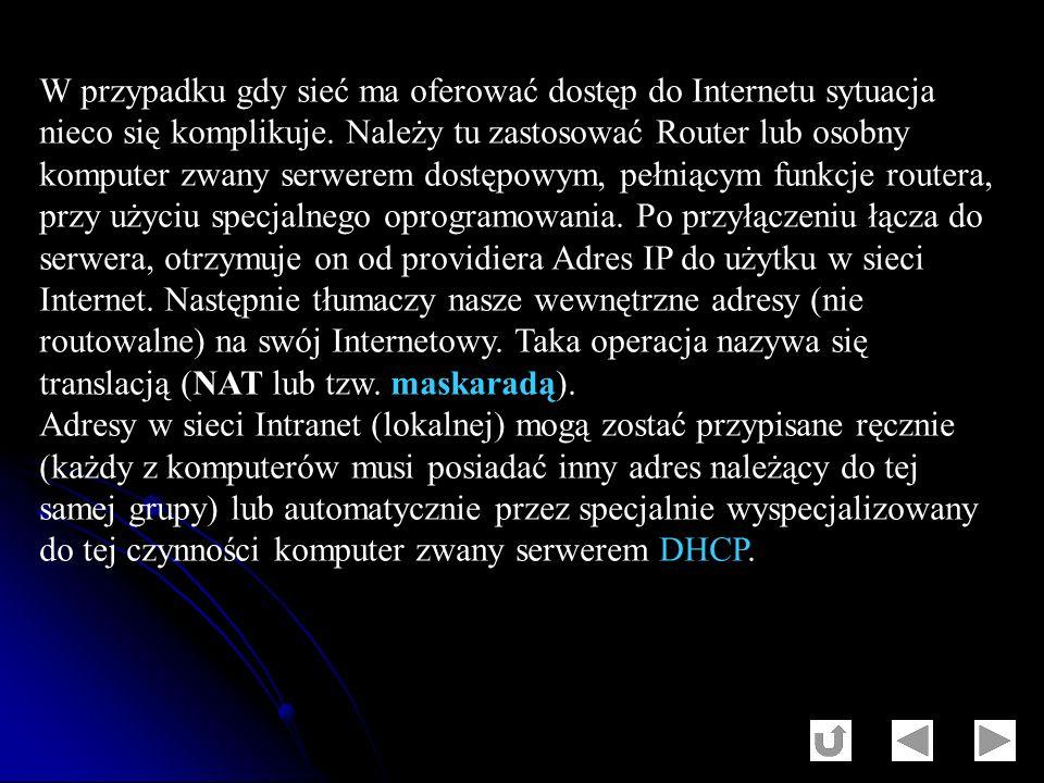 W przypadku gdy sieć ma oferować dostęp do Internetu sytuacja nieco się komplikuje. Należy tu zastosować Router lub osobny komputer zwany serwerem dos
