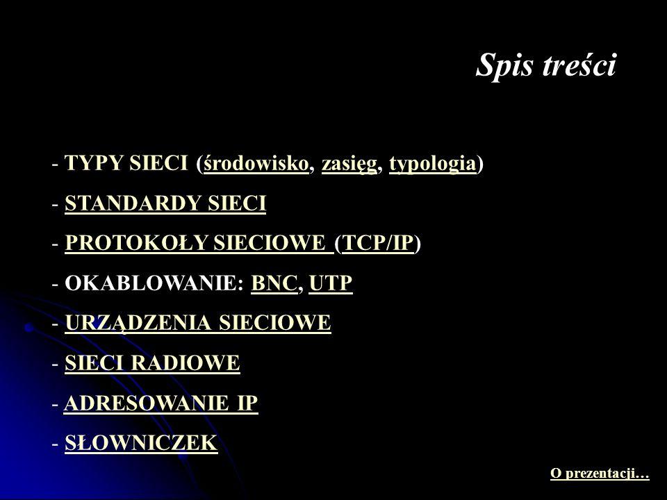 Spis treści - TYPY SIECI (środowisko, zasięg, typologia)środowiskozasięgtypologia - STANDARDY SIECISTANDARDY SIECI - PROTOKOŁY SIECIOWE (TCP/IP)PROTOK