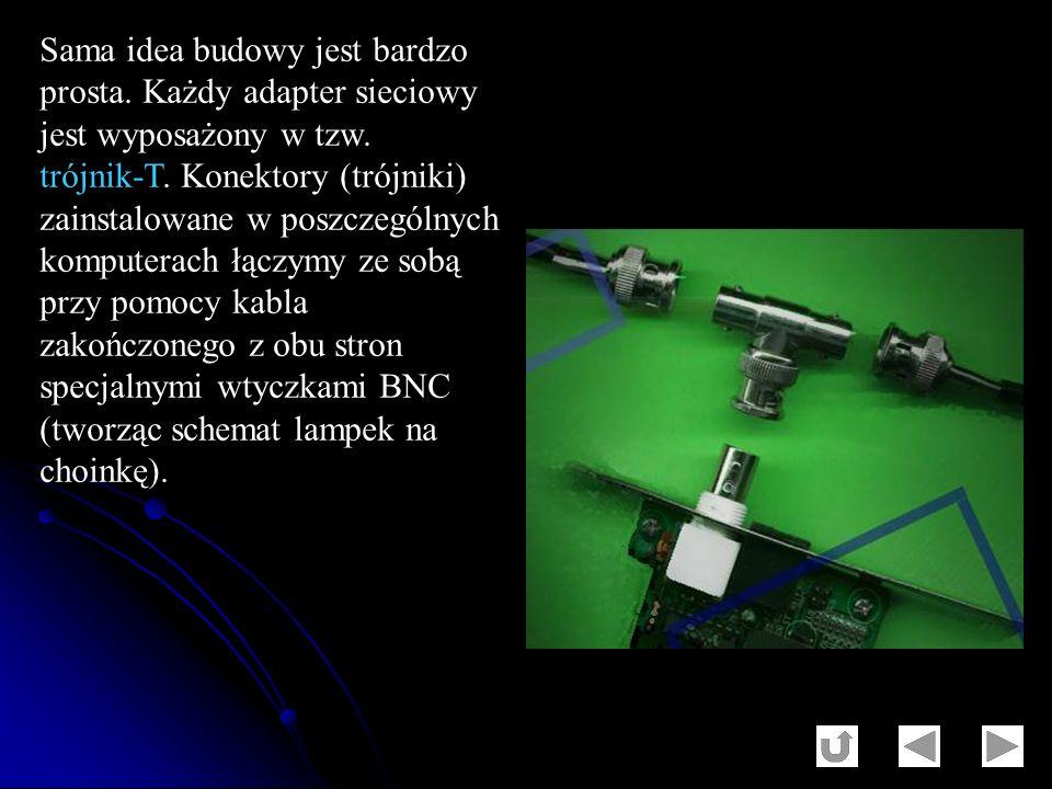 Sama idea budowy jest bardzo prosta. Każdy adapter sieciowy jest wyposażony w tzw. trójnik-T. Konektory (trójniki) zainstalowane w poszczególnych komp