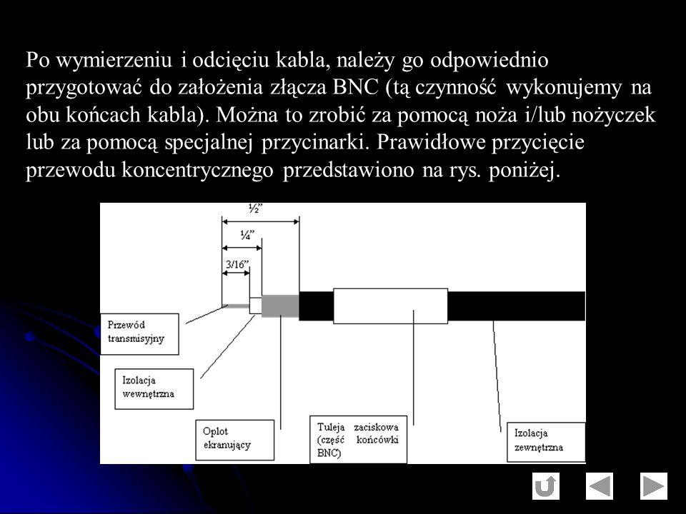 Po wymierzeniu i odcięciu kabla, należy go odpowiednio przygotować do założenia złącza BNC (tą czynność wykonujemy na obu końcach kabla). Można to zro