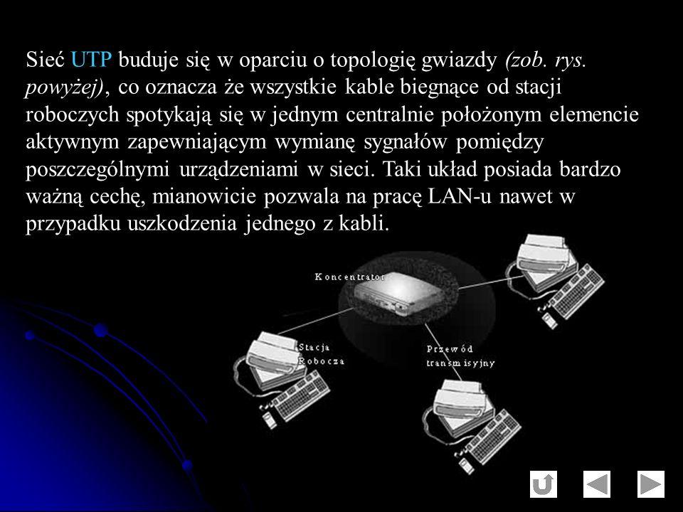 Sieć UTP buduje się w oparciu o topologię gwiazdy (zob. rys. powyżej), co oznacza że wszystkie kable biegnące od stacji roboczych spotykają się w jedn