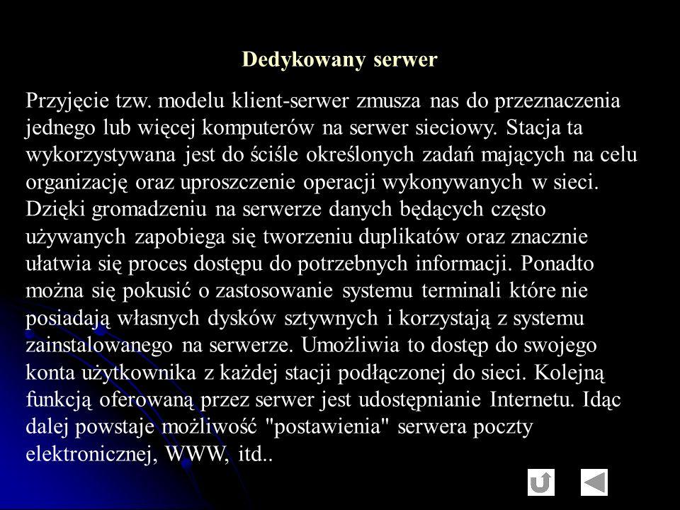 Dedykowany serwer Przyjęcie tzw. modelu klient-serwer zmusza nas do przeznaczenia jednego lub więcej komputerów na serwer sieciowy. Stacja ta wykorzys