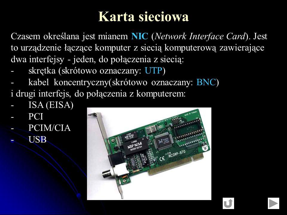 Czasem określana jest mianem NIC (Network Interface Card). Jest to urządzenie łączące komputer z siecią komputerową zawierające dwa interfejsy - jeden