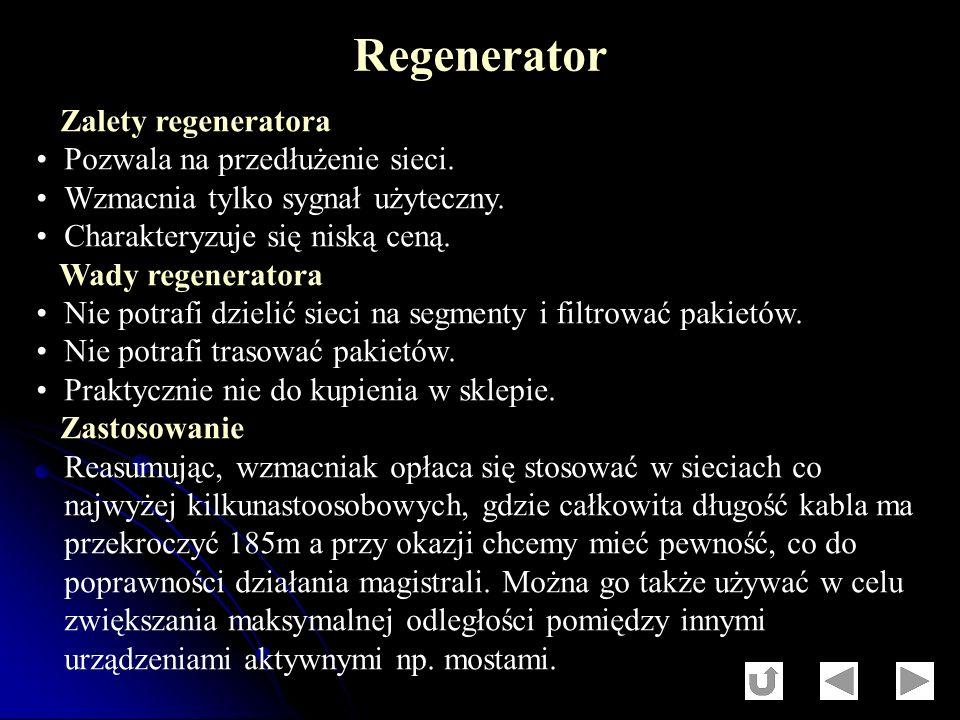 Zalety regeneratora Pozwala na przedłużenie sieci. Wzmacnia tylko sygnał użyteczny. Charakteryzuje się niską ceną. Wady regeneratora Nie potrafi dziel