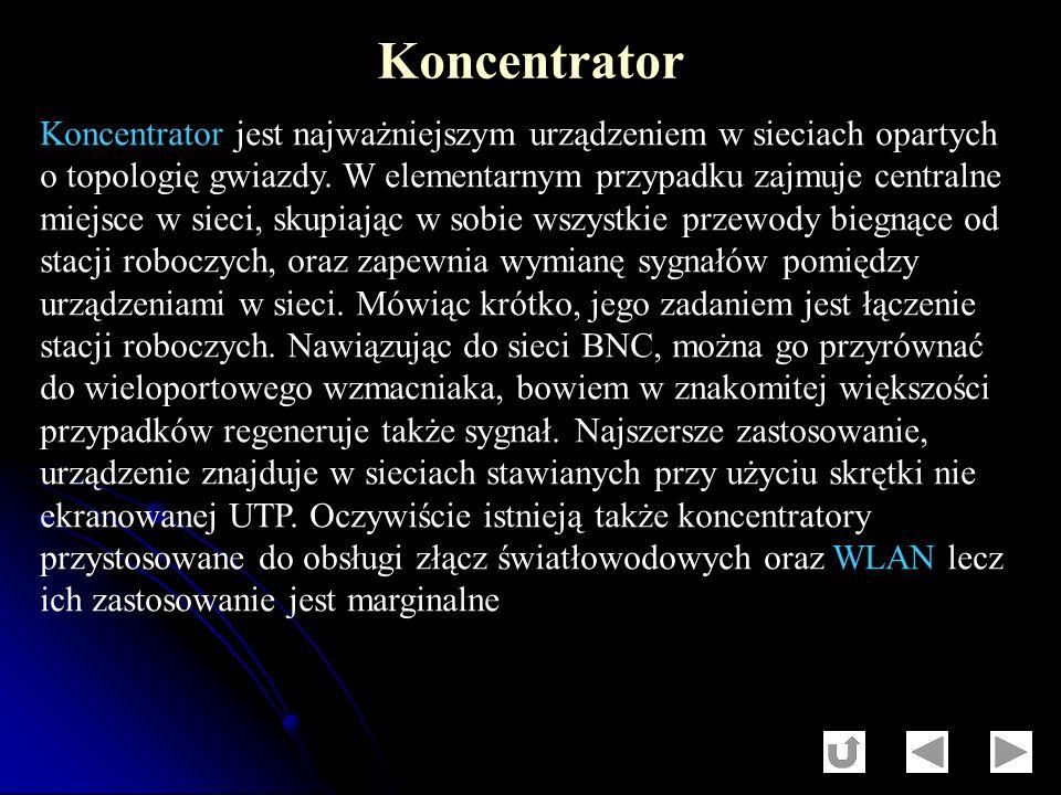 Koncentrator jest najważniejszym urządzeniem w sieciach opartych o topologię gwiazdy. W elementarnym przypadku zajmuje centralne miejsce w sieci, skup