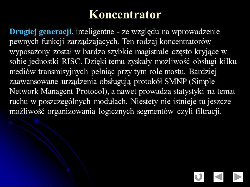 Drugiej generacji, inteligentne - ze względu na wprowadzenie pewnych funkcji zarządzających. Ten rodzaj koncentratorów wyposażony został w bardzo szyb