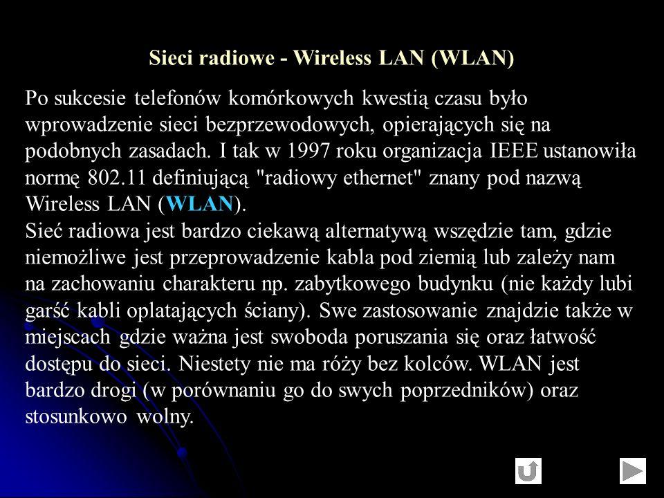 Sieci radiowe - Wireless LAN (WLAN) Po sukcesie telefonów komórkowych kwestią czasu było wprowadzenie sieci bezprzewodowych, opierających się na podob