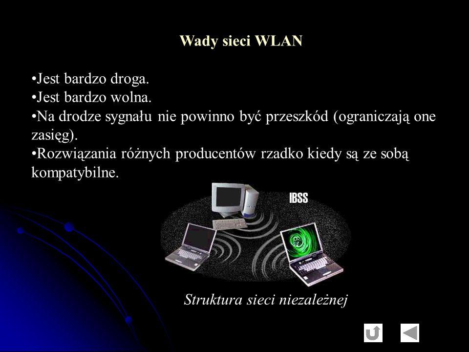 Wady sieci WLAN Jest bardzo droga. Jest bardzo wolna. Na drodze sygnału nie powinno być przeszkód (ograniczają one zasięg). Rozwiązania różnych produc