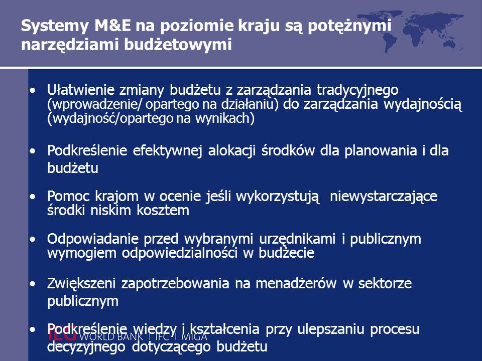 Systemy M&E na poziomie kraju są potężnymi narzędziami budżetowymi Ułatwienie zmiany budżetu z zarządzania tradycyjnego (wprowadzenie/ opartego na działaniu) do zarządzania wydajnością ( wydajność/opartego na wynikach) Podkreślenie efektywnej alokacji środków dla planowania i dla budżetu Pomoc krajom w ocenie jeśli wykorzystują niewystarczające środki niskim kosztem Odpowiadanie przed wybranymi urzędnikami i publicznym wymogiem odpowiedzialności w budżecie Zwiększeni zapotrzebowania na menadżerów w sektorze publicznym Podkreślenie wiedzy i kształcenia przy ulepszaniu procesu decyzyjnego dotyczącego budżetu