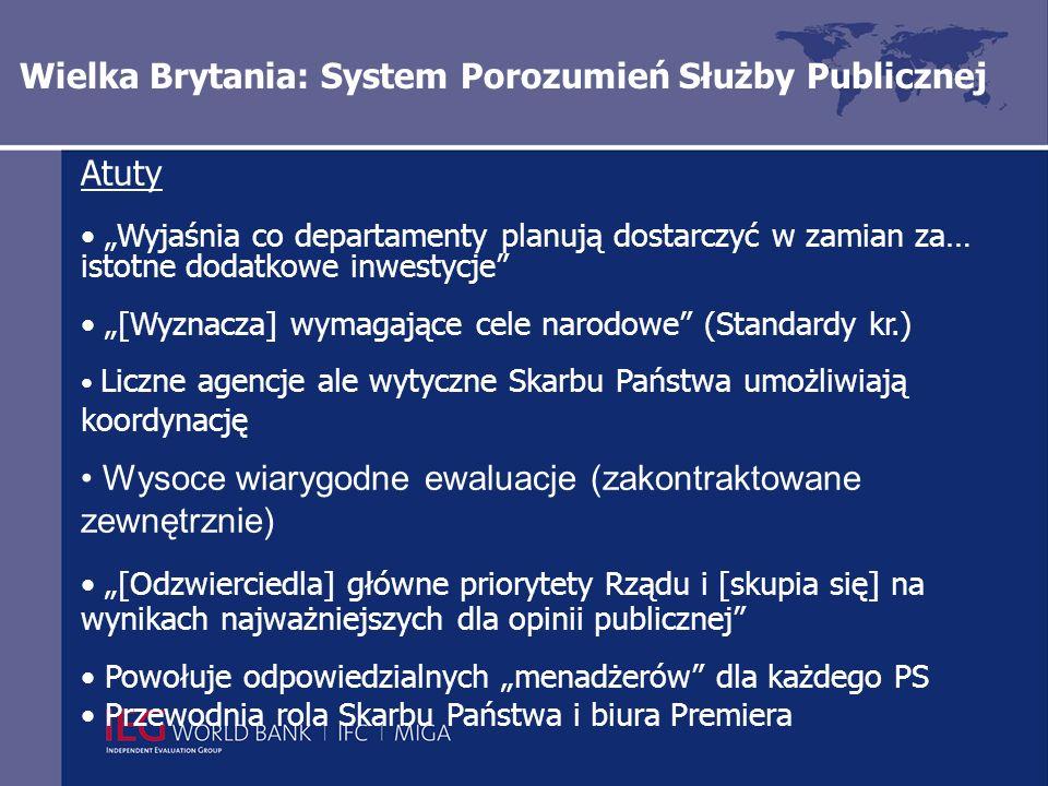 Wielka Brytania: System Porozumień Służby Publicznej Atuty Wyjaśnia co departamenty planują dostarczyć w zamian za… istotne dodatkowe inwestycje [Wyznacza] wymagające cele narodowe (Standardy kr.) Liczne agencje ale wytyczne Skarbu Państwa umożliwiają koordynację Wysoce wiarygodne ewaluacje (zakontraktowane zewnętrznie) [Odzwierciedla] główne priorytety Rządu i [skupia się] na wynikach najważniejszych dla opinii publicznej Powołuje odpowiedzialnych menadżerów dla każdego PS Przewodnia rola Skarbu Państwa i biura Premiera