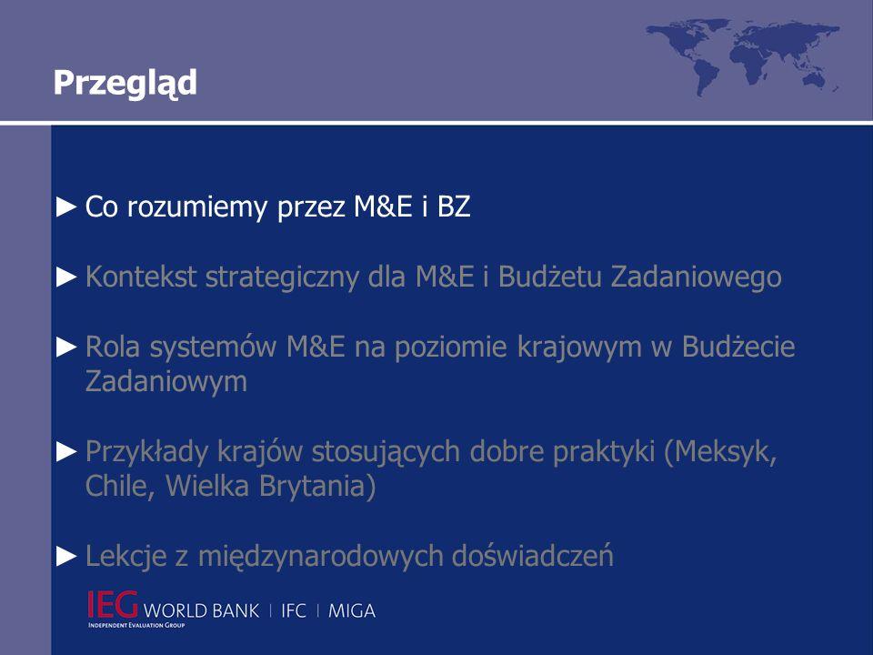 Przegląd Co rozumiemy przez M&E i BZ Kontekst strategiczny dla M&E i Budżetu Zadaniowego Rola systemów M&E na poziomie krajowym w Budżecie Zadaniowym Dobre praktyki przykłady krajów Lekcje z międzynarodowych doświadczeń