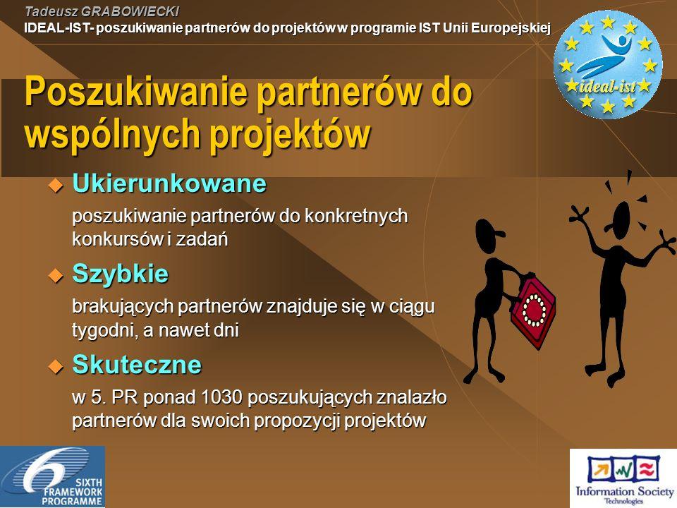 Tadeusz GRABOWIECKI IDEAL-IST- poszukiwanie partnerów do projektów w programie IST Unii Europejskiej Poszukiwanie partnerów do wspólnych projektów Ukierunkowane Ukierunkowane poszukiwanie partnerów do konkretnych konkursów i zadań Szybkie Szybkie brakujących partnerów znajduje się w ciągu tygodni, a nawet dni Skuteczne Skuteczne w 5.