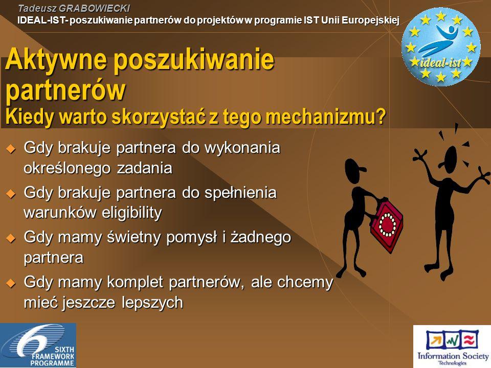 Tadeusz GRABOWIECKI IDEAL-IST- poszukiwanie partnerów do projektów w programie IST Unii Europejskiej Aktywne poszukiwanie partnerów Kiedy warto skorzystać z tego mechanizmu.