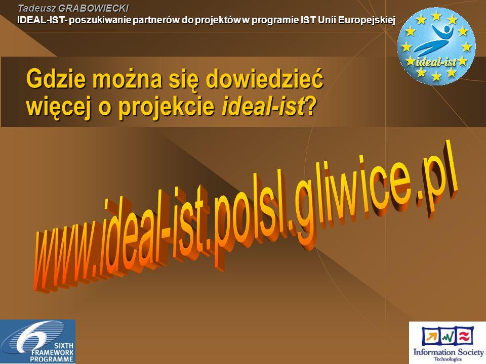 Tadeusz GRABOWIECKI IDEAL-IST- poszukiwanie partnerów do projektów w programie IST Unii Europejskiej Gdzie można się dowiedzieć więcej o projekcie ideal-ist ?