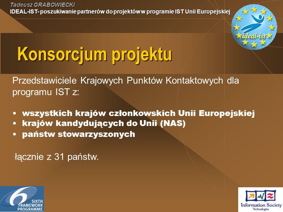 Tadeusz GRABOWIECKI IDEAL-IST- poszukiwanie partnerów do projektów w programie IST Unii Europejskiej Konsorcjum projektu Przedstawiciele Krajowych Punktów Kontaktowych dla programu IST z: wszystkich krajów członkowskich Unii Europejskiej krajów kandydujących do Unii (NAS) państw stowarzyszonych łącznie z 31 państw.