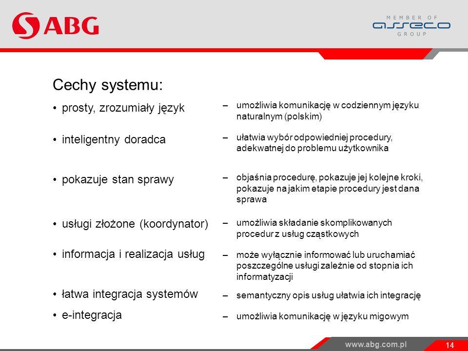 www.abg.com.pl 14 Cechy systemu: prosty, zrozumiały język inteligentny doradca pokazuje stan sprawy usługi złożone (koordynator) informacja i realizacja usług łatwa integracja systemów e-integracja –umożliwia komunikację w codziennym języku naturalnym (polskim) –ułatwia wybór odpowiedniej procedury, adekwatnej do problemu użytkownika –objaśnia procedurę, pokazuje jej kolejne kroki, pokazuje na jakim etapie procedury jest dana sprawa –umożliwia składanie skomplikowanych procedur z usług cząstkowych –może wyłącznie informować lub uruchamiać poszczególne usługi zależnie od stopnia ich informatyzacji –semantyczny opis usług ułatwia ich integrację –umożliwia komunikację w języku migowym Projekt WKUP i jego wyniki