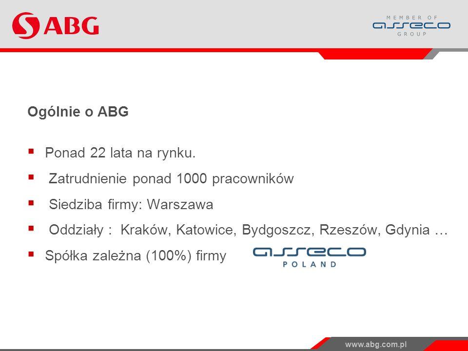 www.abg.com.pl Ogólnie o ABG Ponad 22 lata na rynku.