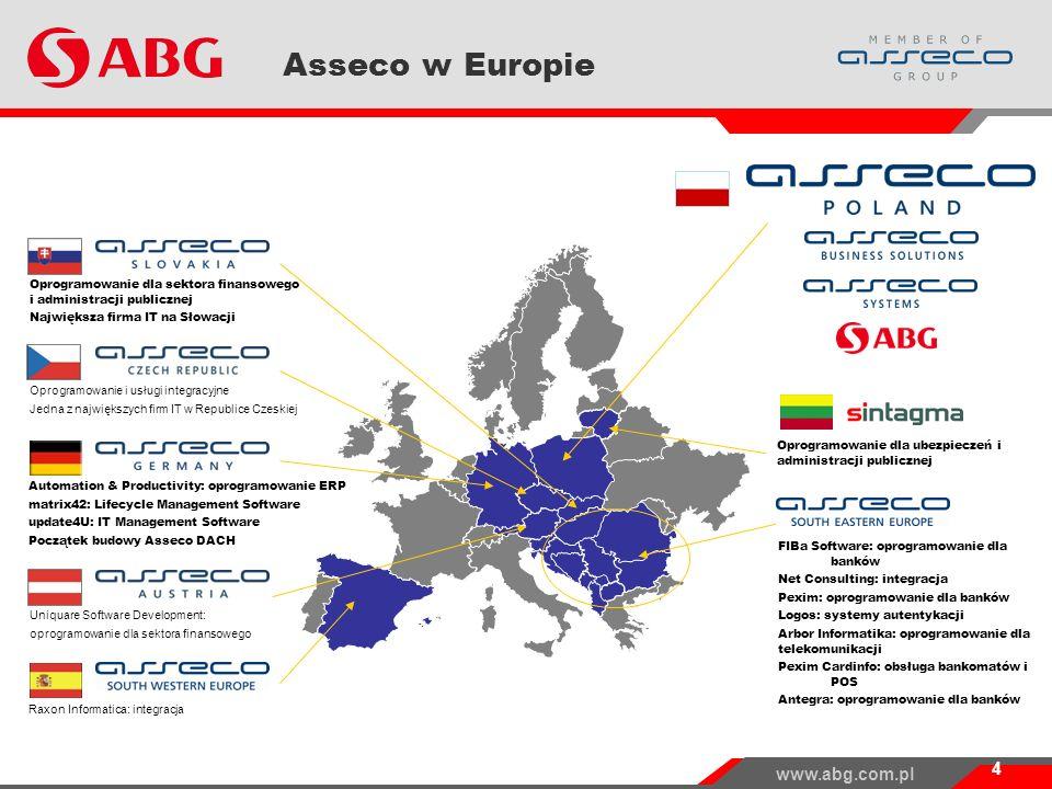 www.abg.com.pl Asseco w Europie 4 FIBa Software: oprogramowanie dla banków Net Consulting: integracja Pexim: oprogramowanie dla banków Logos: systemy autentykacji Arbor Informatika: oprogramowanie dla telekomunikacji Pexim Cardinfo: obsługa bankomatów i POS Antegra: oprogramowanie dla banków Oprogramowanie i usługi integracyjne Jedna z największych firm IT w Republice Czeskiej Automation & Productivity: oprogramowanie ERP matrix42: Lifecycle Management Software update4U: IT Management Software Początek budowy Asseco DACH Oprogramowanie dla ubezpieczeń i administracji publicznej Oprogramowanie dla sektora finansowego i administracji publicznej Największa firma IT na Słowacji Uniquare Software Development: oprogramowanie dla sektora finansowego Raxon Informatica: integracja
