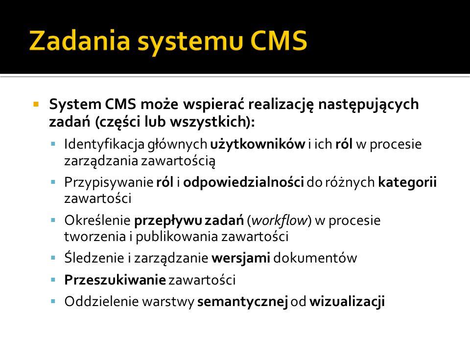 System CMS może wspierać realizację następujących zadań (części lub wszystkich): Identyfikacja głównych użytkowników i ich ról w procesie zarządzania