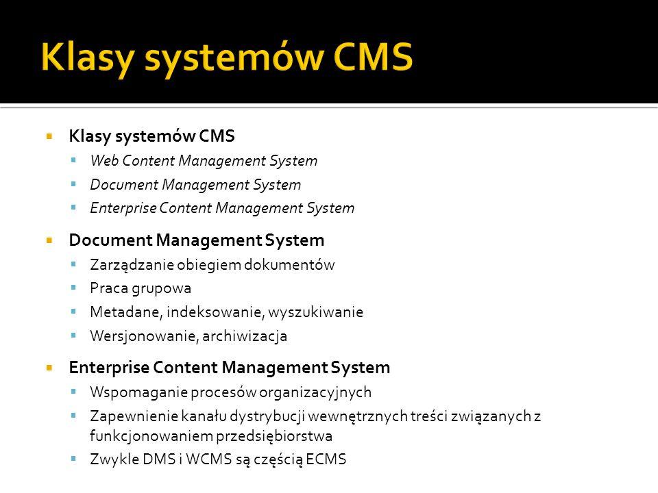 Klasy systemów CMS Web Content Management System Document Management System Enterprise Content Management System Document Management System Zarządzani