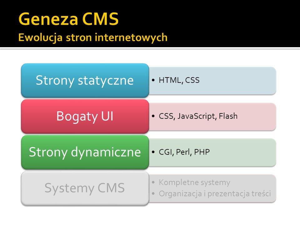 Warstwa danych Przechowywanie treści, szablonów, uprawnień Relacyjna baza danych, XML-owa baza danych, system plików Warstwa aplikacji Główny silnik CMS Program dokonujący transformacji danych przechowywanych w bazie, realizujący autoryzację użytkowników, itd.