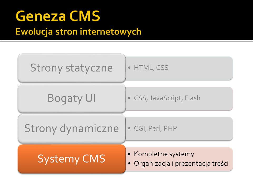 HTML, CSS Strony statyczne CSS, JavaScript, Flash Bogaty UI CGI, Perl, PHP Strony dynamiczne Kompletne systemy Organizacja i prezentacja treści System