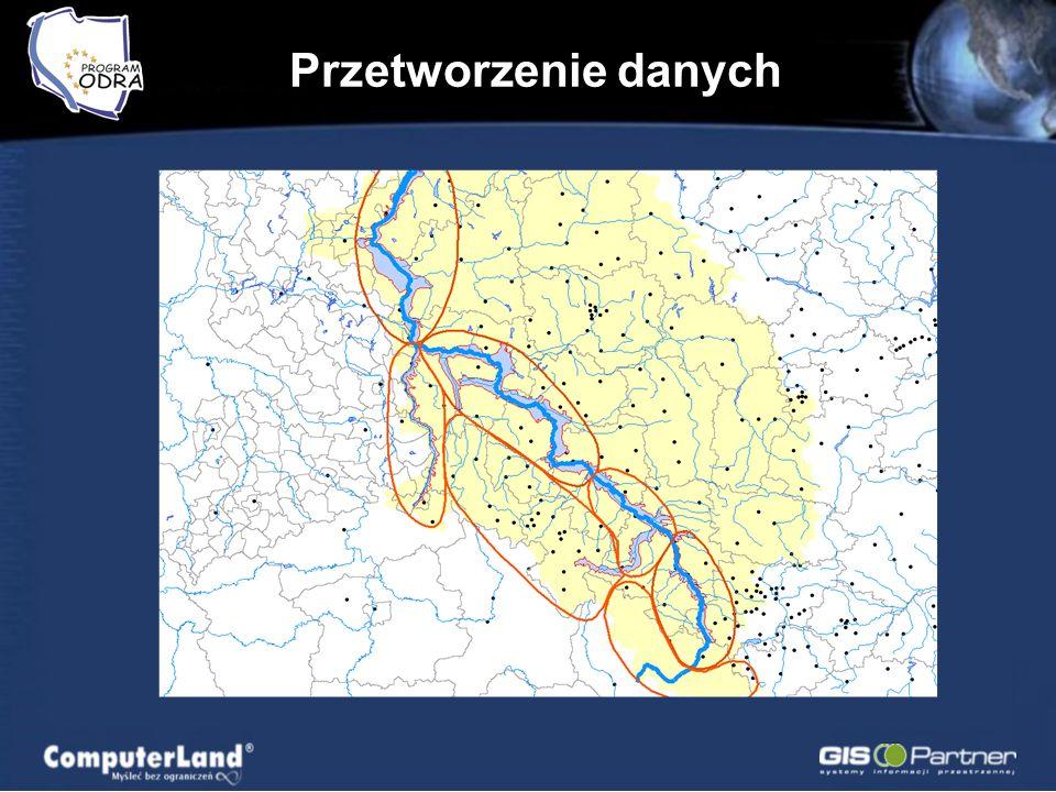 Przetworzenie danych Projekt Oderrregio - Transgraniczna koncepcja zapobiegania powodzi z uwzględnieniem działań z zakresu gospodarki przestrzennej w dorzeczu Odry; MPHP - Mapa Podziału Hydrograficznego Polski w granicach dorzecza Odry; Przekroje dolinne Odry i jej głównych dopływów; Studium Zagospodarowania Przestrzennego Pasma Odry - Synteza;