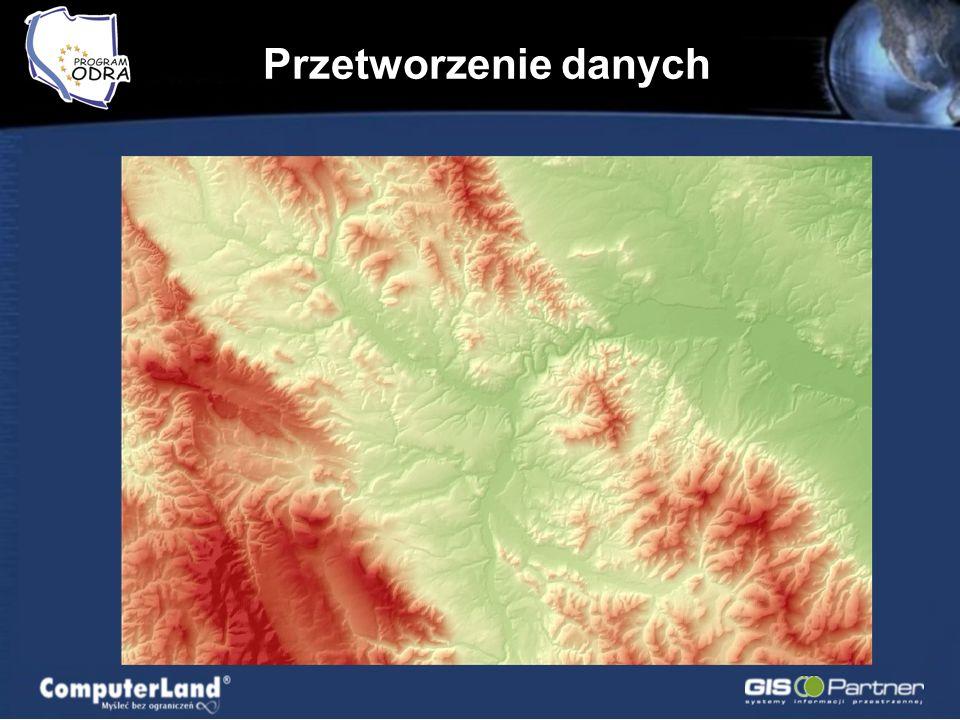 Przetworzenie danych Atlas Obszarów Zalewowych Doliny Odry; Model terenu DTED 1 (26 ark.) dorzecza Odry; Model terenu DTED 2 (416 ark.) dorzecza Odry;