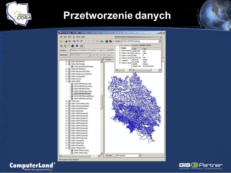Przetworzenie danych Dane rastrowe w skali 1: 250 000 (16 ark.) dorzecza Odry; Dane rastrowe w skali 1: 50 000 (213 ark.) dorzecza Odry; RPF dla terenu Polski; Ponad 300 warstw w bazie