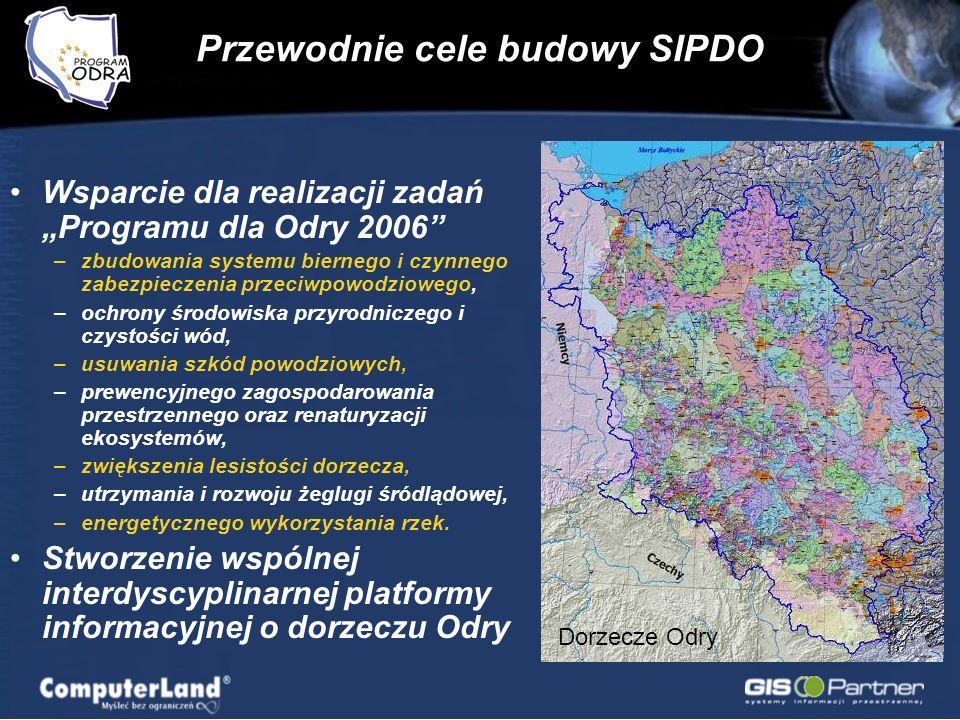Przewodnie cele budowy SIPDO Wsparcie dla realizacji zadań Programu dla Odry 2006 –zbudowania systemu biernego i czynnego zabezpieczenia przeciwpowodziowego, –ochrony środowiska przyrodniczego i czystości wód, –usuwania szkód powodziowych, –prewencyjnego zagospodarowania przestrzennego oraz renaturyzacji ekosystemów, –zwiększenia lesistości dorzecza, –utrzymania i rozwoju żeglugi śródlądowej, –energetycznego wykorzystania rzek.