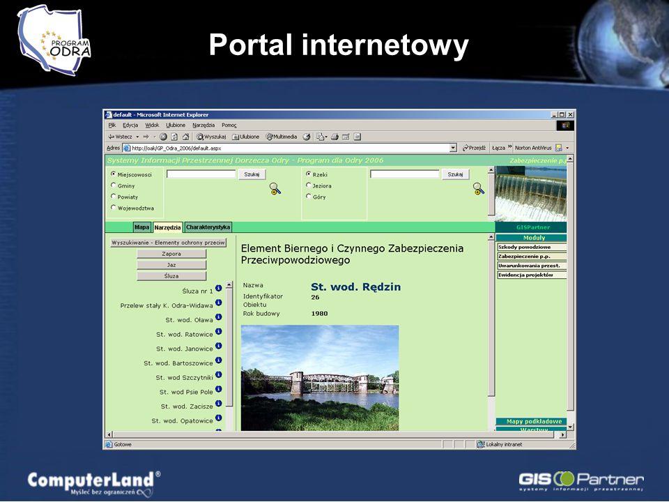 Portal internetowy Dostęp publiczny oraz autoryzowany (dla użytkowników posiadających większe uprawnienia) Wiele postaci mapy (serwisów) –Moduły (podz