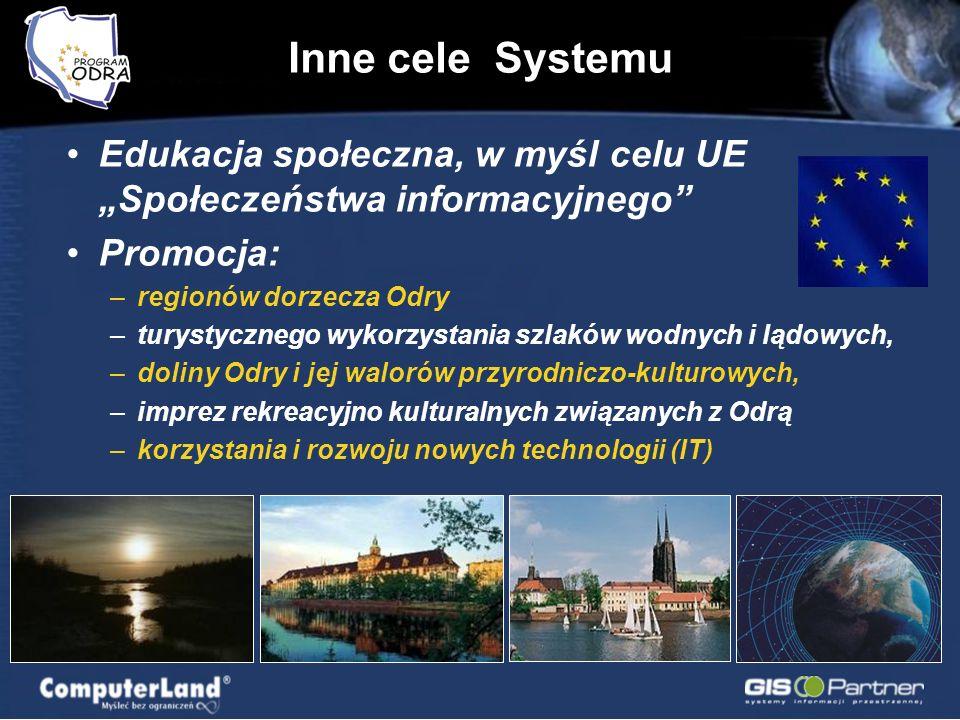 Edukacja społeczna, w myśl celu UE Społeczeństwa informacyjnego Promocja: –regionów dorzecza Odry –turystycznego wykorzystania szlaków wodnych i lądow