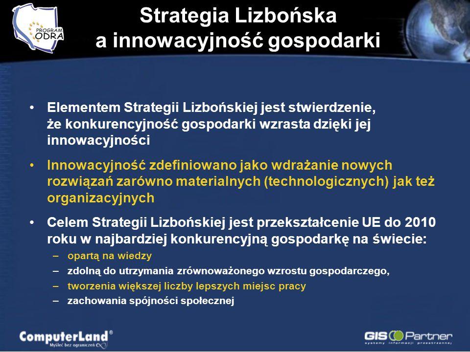 Strategia Lizbońska a innowacyjność gospodarki Elementem Strategii Lizbońskiej jest stwierdzenie, że konkurencyjność gospodarki wzrasta dzięki jej innowacyjności Innowacyjność zdefiniowano jako wdrażanie nowych rozwiązań zarówno materialnych (technologicznych) jak też organizacyjnych Celem Strategii Lizbońskiej jest przekształcenie UE do 2010 roku w najbardziej konkurencyjną gospodarkę na świecie: –opartą na wiedzy –zdolną do utrzymania zrównoważonego wzrostu gospodarczego, –tworzenia większej liczby lepszych miejsc pracy –zachowania spójności społecznej